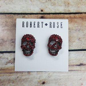 Robert Rose red skull earrings New
